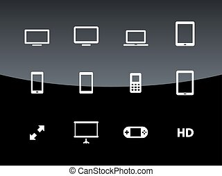Screens icons on black background.