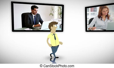 Screens of business people - Animation of screens of...
