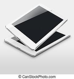 screens., ordinateurs, noir, tablette