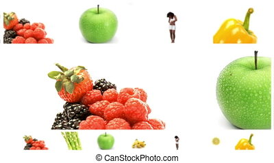 Animation of screens presenting a healthy life