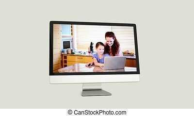 Screens revealing family using laptop on white background