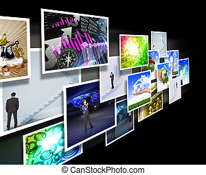 Screens with images flow - Colour images flow representing...