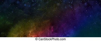 screensavers., sky., 设计, illustration., 创造性, 使用, 多种色彩, 摘要, 云, fractal, banner., 布满星星