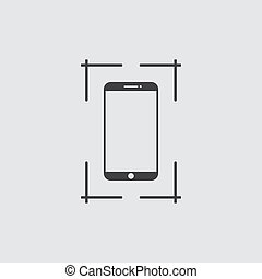 Screenshot icon in black on a gray background. Vector illustration.