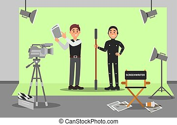 Screenwriter and actor working on the film, entertainment industry, movie making vector Illustration