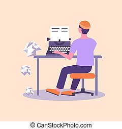 Screenwriter editor at typewriter. Male character typing text on retro equipment crumpled sheets of paper flying to floor proofreading of documentation creative mechanical vector journalism.