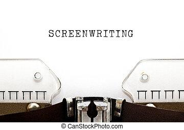 screenwriting, pojem, vinobraní, psací stroj