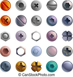 Screw-bolt icons set, cartoon style