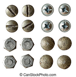 screw, bolt, rivet head collection isolated on white with...