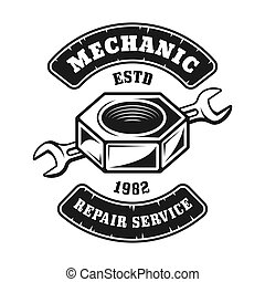 Screw nut and wrench vector emblem, label, badge