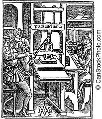 Screw press vintage engraving - Screw press, vintage ...