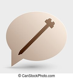 Screw sign illustration. Brown gradient icon on bubble with shadow.
