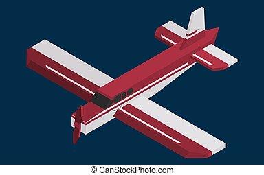screw single-engine burgundy color plane isometric