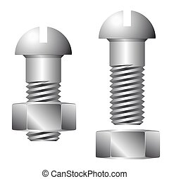 Screw with nut isolated on white background. 3d render