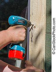 screwdriver., ξυλουργική , γενική ιδέα , αρσενικό , χέρι