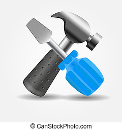 Screwdriver and hammer icon vector illustration