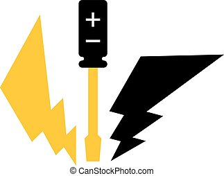 Screwdriver and lightning, yellow and black icon,...