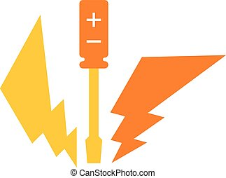 Screwdriver and lightning, yellow icon, electricity works -...