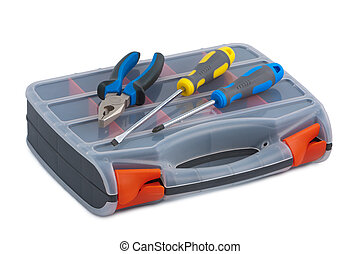 Screwdriver and pliers in a plastic tool box on white background