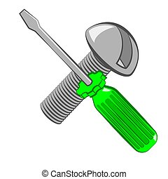 Screwdriver and screw. Cartoon style. Isolated on white...
