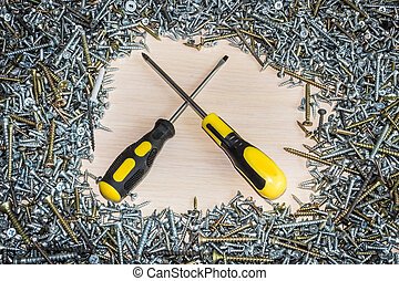 screwdriver and screws, the composition of construction, repair