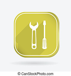 screwdriver and wrench. Color square icon