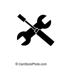 screwdriver and wrench icon, vector illustration, black sign on isolated background