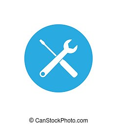 Screwdriver and wrench icon. Vector illustration, flat design.