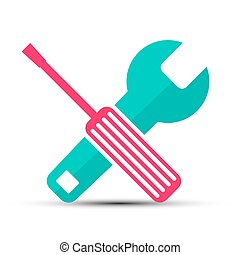 Screwdriver and Wrench Vector Flat Design Retro Icons Isolated on White Background