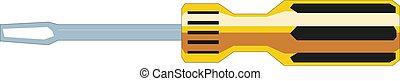 screwdriver., cabeça lisa, vetorial, ilustração