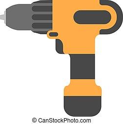 Screwdriver flat. Cordless drill electro tools illustration.