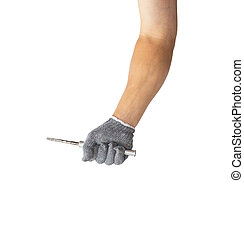 screwdriver in the man's hands on a white background