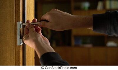 screwdriver., mains, bricoleur, installation, lock., ...
