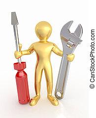 screwdriver., mannen, moersleutel, 3d