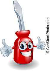 Screwdriver mascot character - Cartoon screwdriver...