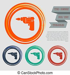 Screwdriver, power drill icon on the red, blue, green, orange buttons for your website and design with space text. Vector