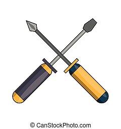 screwdriver tool icon cartoon isolated
