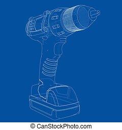screwdriver., vettore, elettrico, cordone