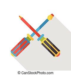 Screwdrivers tool flat icon