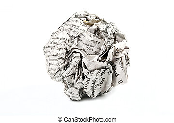 Screwed Up Paper - A screwed up piece of newspaper over a...