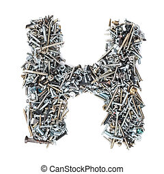 Letter 'H' made of screws isolated in white background