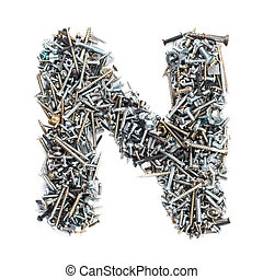Letter 'N' made of screws isolated in white background