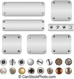 Screws And Bolts, Isolated On White Background, Vector...
