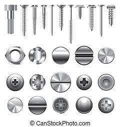 Screws and nuts icons vector set