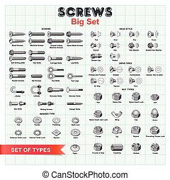 Big vector set building screws, nuts and bolts on a background of millimeter paper. For installation works as a good example of tools and equipment.