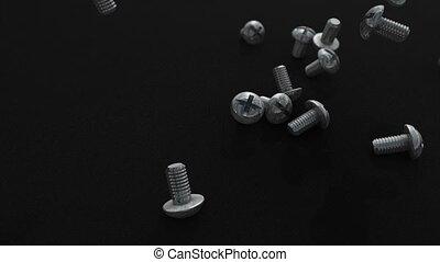 Screws drop to ground animation.