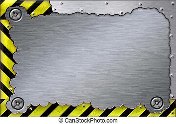 Screws in brushed steel background. Yellow and black construction border. Copy space