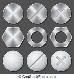 Screws, nuts and bolts realistic icons set