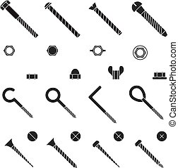 Screws, nuts and rivets icons vector set