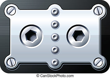 Screws rivets bolts on metal panel vector